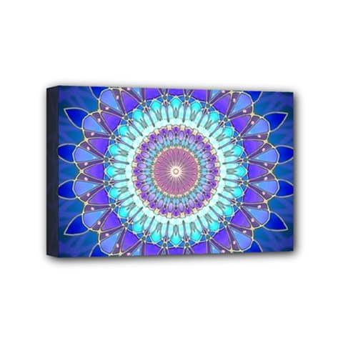 Power Flower Mandala   Blue Cyan Violet Mini Canvas 6  X 4  by EDDArt
