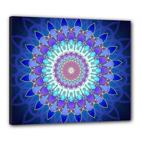 Power Flower Mandala   Blue Cyan Violet Canvas 24  X 20  by EDDArt