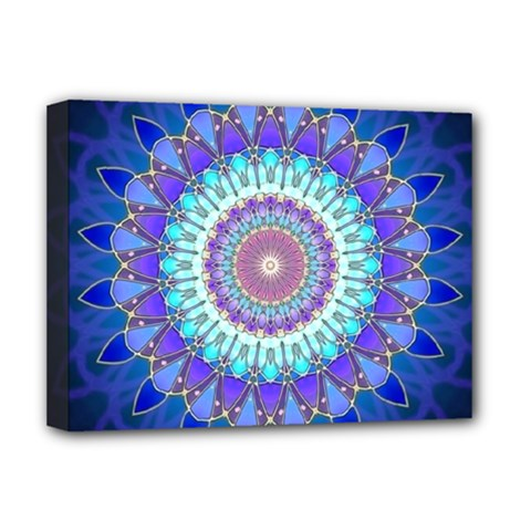 Power Flower Mandala   Blue Cyan Violet Deluxe Canvas 16  X 12   by EDDArt