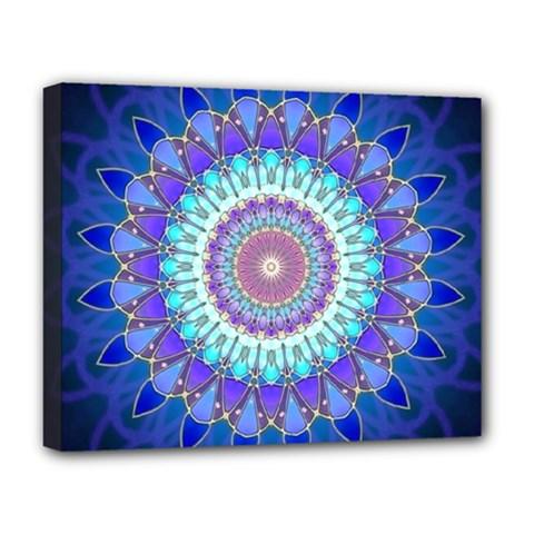 Power Flower Mandala   Blue Cyan Violet Deluxe Canvas 20  X 16   by EDDArt
