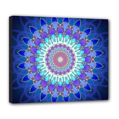 Power Flower Mandala   Blue Cyan Violet Deluxe Canvas 24  X 20   by EDDArt