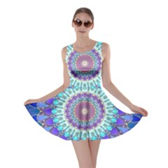 Power Flower Mandala   Blue Cyan Violet Skater Dress by EDDArt