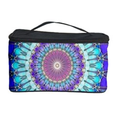 Power Flower Mandala   Blue Cyan Violet Cosmetic Storage Case by EDDArt