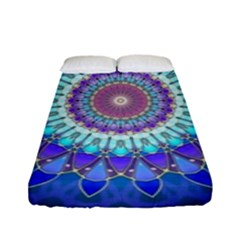 Power Flower Mandala   Blue Cyan Violet Fitted Sheet (full/ Double Size) by EDDArt