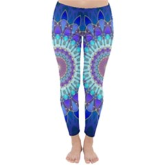 Power Flower Mandala   Blue Cyan Violet Classic Winter Leggings by EDDArt