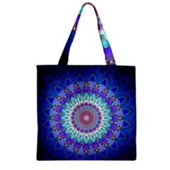 Power Flower Mandala   Blue Cyan Violet Zipper Grocery Tote Bag by EDDArt
