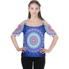 Power Flower Mandala   Blue Cyan Violet Women s Cutout Shoulder Tee by EDDArt