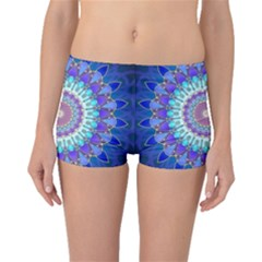 Power Flower Mandala   Blue Cyan Violet Boyleg Bikini Bottoms by EDDArt