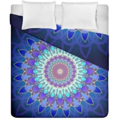 Power Flower Mandala   Blue Cyan Violet Duvet Cover Double Side (california King Size) by EDDArt
