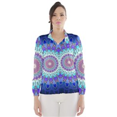 Power Flower Mandala   Blue Cyan Violet Wind Breaker (women) by EDDArt