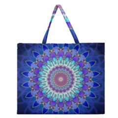 Power Flower Mandala   Blue Cyan Violet Zipper Large Tote Bag by EDDArt
