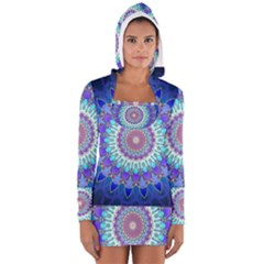 Power Flower Mandala   Blue Cyan Violet Women s Long Sleeve Hooded T Shirt by EDDArt