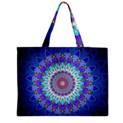 Power Flower Mandala   Blue Cyan Violet Medium Tote Bag by EDDArt