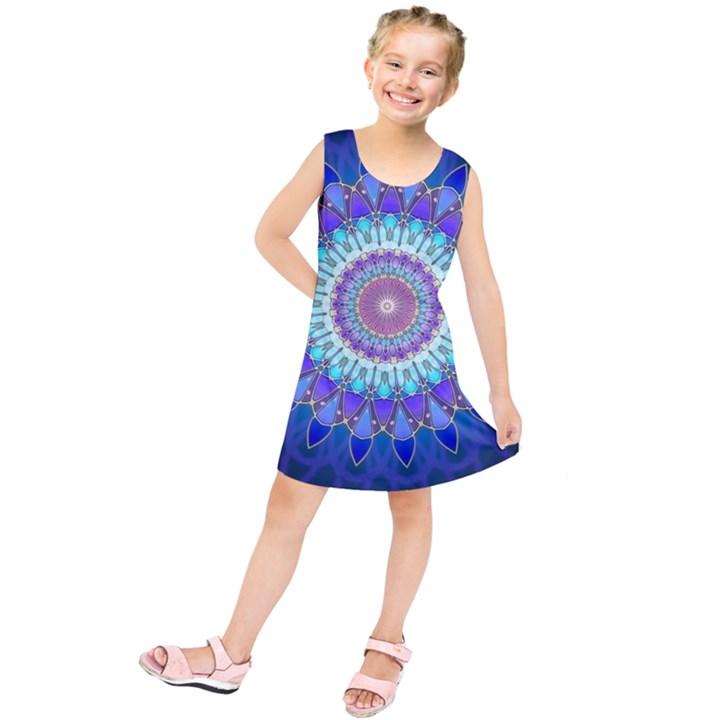 Power Flower Mandala   Blue Cyan Violet Kids  Tunic Dress