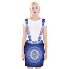 Power Flower Mandala   Blue Cyan Violet Suspender Skirt by EDDArt