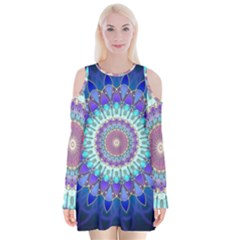 Power Flower Mandala   Blue Cyan Violet Velvet Long Sleeve Shoulder Cutout Dress by EDDArt