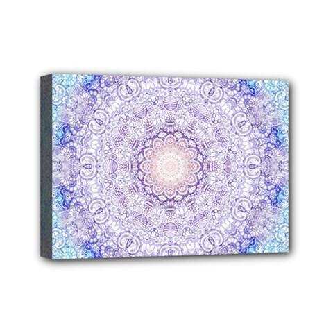 India Mehndi Style Mandala   Cyan Lilac Mini Canvas 7  X 5  by EDDArt