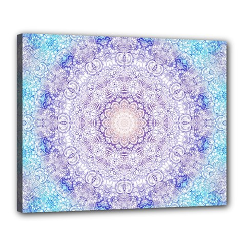 India Mehndi Style Mandala   Cyan Lilac Canvas 20  X 16  by EDDArt