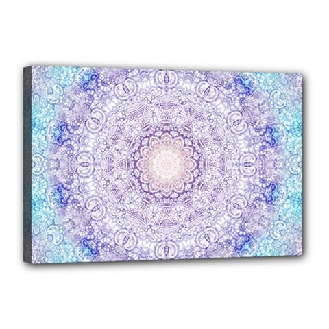 India Mehndi Style Mandala   Cyan Lilac Canvas 18  X 12  by EDDArt
