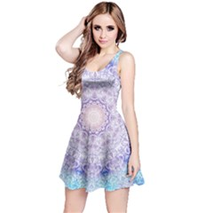 India Mehndi Style Mandala   Cyan Lilac Reversible Sleeveless Dress by EDDArt