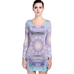India Mehndi Style Mandala   Cyan Lilac Long Sleeve Bodycon Dress by EDDArt