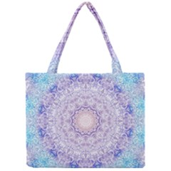 India Mehndi Style Mandala   Cyan Lilac Mini Tote Bag by EDDArt