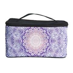 India Mehndi Style Mandala   Cyan Lilac Cosmetic Storage Case by EDDArt