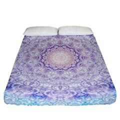 India Mehndi Style Mandala   Cyan Lilac Fitted Sheet (queen Size) by EDDArt