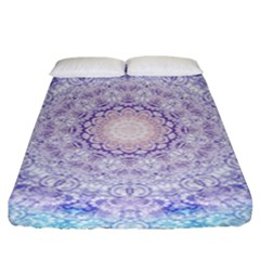 India Mehndi Style Mandala   Cyan Lilac Fitted Sheet (king Size) by EDDArt