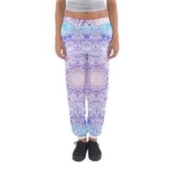 India Mehndi Style Mandala   Cyan Lilac Women s Jogger Sweatpants by EDDArt