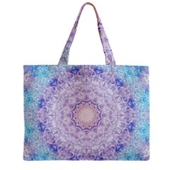 India Mehndi Style Mandala   Cyan Lilac Zipper Mini Tote Bag by EDDArt