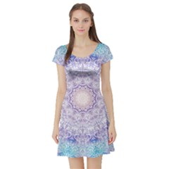 India Mehndi Style Mandala   Cyan Lilac Short Sleeve Skater Dress by EDDArt