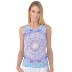 India Mehndi Style Mandala   Cyan Lilac Women s Basketball Tank Top by EDDArt