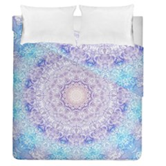 India Mehndi Style Mandala   Cyan Lilac Duvet Cover Double Side (queen Size) by EDDArt