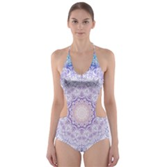 India Mehndi Style Mandala   Cyan Lilac Cut Out One Piece Swimsuit by EDDArt