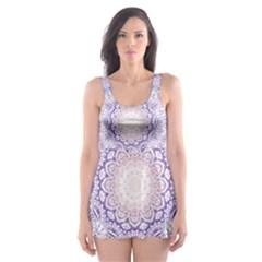 India Mehndi Style Mandala   Cyan Lilac Skater Dress Swimsuit by EDDArt