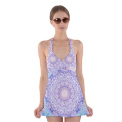 India Mehndi Style Mandala   Cyan Lilac Halter Swimsuit Dress by EDDArt
