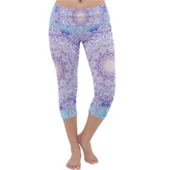 India Mehndi Style Mandala   Cyan Lilac Capri Yoga Leggings by EDDArt