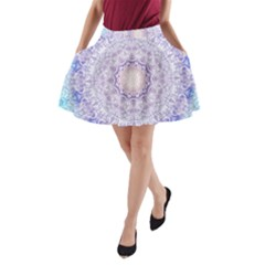 India Mehndi Style Mandala   Cyan Lilac A Line Pocket Skirt by EDDArt