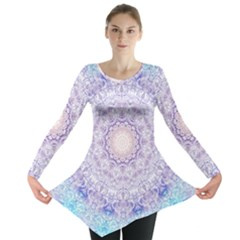 India Mehndi Style Mandala   Cyan Lilac Long Sleeve Tunic  by EDDArt