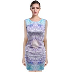 India Mehndi Style Mandala   Cyan Lilac Classic Sleeveless Midi Dress by EDDArt
