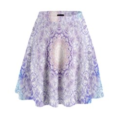 India Mehndi Style Mandala   Cyan Lilac High Waist Skirt by EDDArt