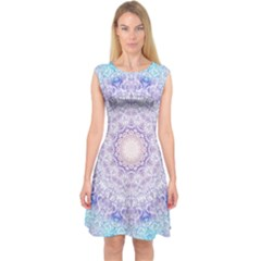 India Mehndi Style Mandala   Cyan Lilac Capsleeve Midi Dress by EDDArt