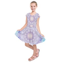 India Mehndi Style Mandala   Cyan Lilac Kids  Short Sleeve Dress