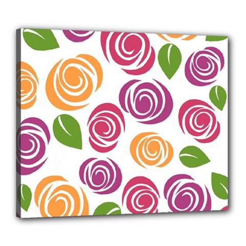Colorful Seamless Floral Flowers Pattern Wallpaper Background Canvas 24  X 20  by Amaryn4rt