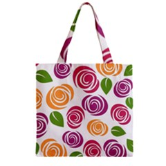 Colorful Seamless Floral Flowers Pattern Wallpaper Background Zipper Grocery Tote Bag by Amaryn4rt