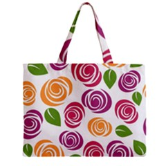 Colorful Seamless Floral Flowers Pattern Wallpaper Background Zipper Mini Tote Bag by Amaryn4rt