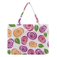 Colorful Seamless Floral Flowers Pattern Wallpaper Background Medium Tote Bag by Amaryn4rt
