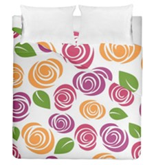 Colorful Seamless Floral Flowers Pattern Wallpaper Background Duvet Cover Double Side (queen Size) by Amaryn4rt