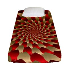 Fractal Red Petal Spiral Fitted Sheet (single Size) by Amaryn4rt